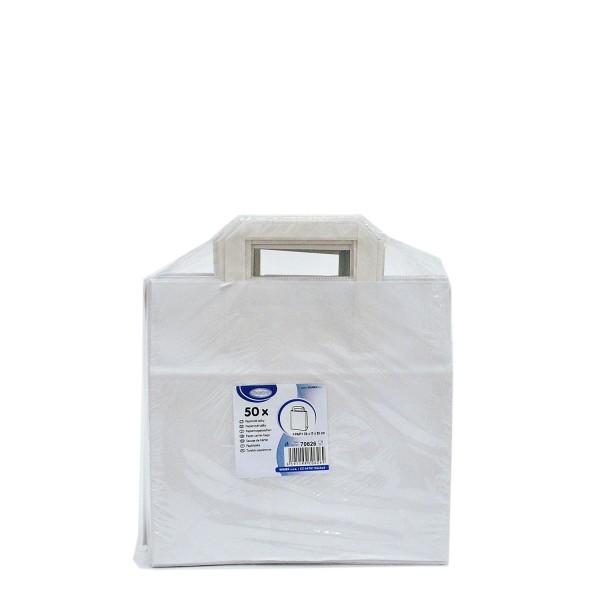 Papiertragetaschen 26+17 x 25 cm weiß [50 Stück]