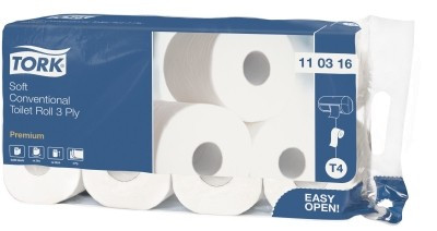 110316 - Tork weiches Kleinrollen Toilettenpapier Premium – 3-lagig - T4 - 1 Sack a 72 Rollen