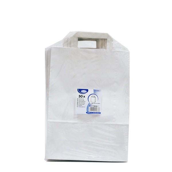 Papiertragetaschen 26+12 x 36 cm weiß [50 Stück]