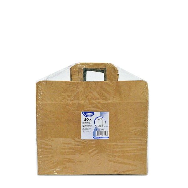 Papiertragetaschen 32+21 x 27 cm braun [50 Stück]