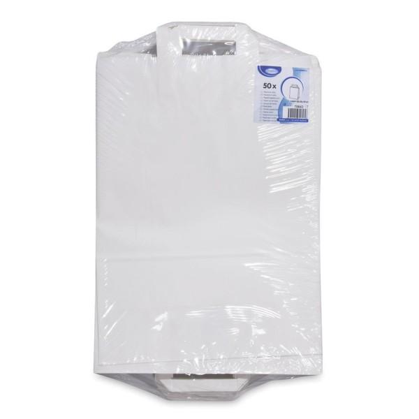 Papiertragetaschen 32+15 x 43 cm weiß [50 Stück]