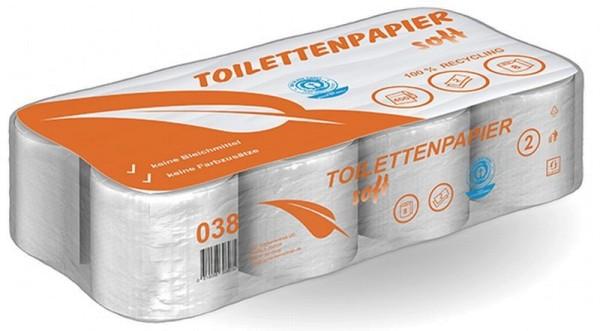 AlpineX® Toilettenpapier 2-lagig 400 Blatt recycling - Pack à 8 Rollen