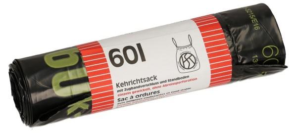 OKS Kehrichtsäcke Quickbag mit Zugband 60 L schwarz