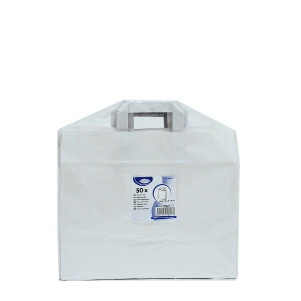 Papiertragetaschen 32+21 x 27 cm weiß [50 Stück]