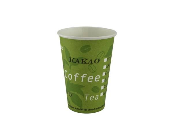Bio Kaffeebecher aus Karton, grün, PLA beschichtet